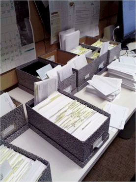 Most historians are still using methods developed for the age of print--including index cards, yellow Post-it notes, and file cabinets of paper--to assemble their materials, insights, and ideas into an article or book. Photo courtesy of Roger Schonfeld.