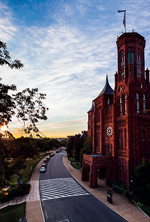 The Smithsonian Castle at Sunrise. Credit: Eric Long, Smithsonian