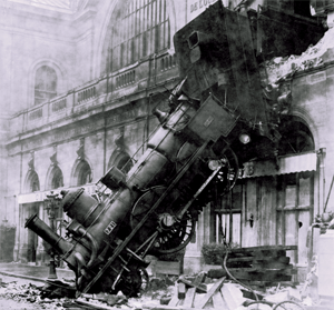 Train wreck at Montparnasse Station, Paris, France, 1895; photo is in the public domain.
