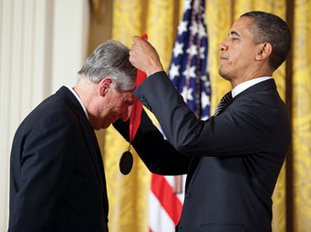 President Barack Obama awards the 2011 National Humanities Medal to Robert Darnton in the East Room of the White House. Official White House Photo by Pete Souza.
