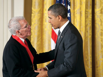 President Barack Obama awards the 2011 National Humanities Medal to Teofilo Ruiz in the East Room of the White House. Official White House Photo by Chuck Kennedy.