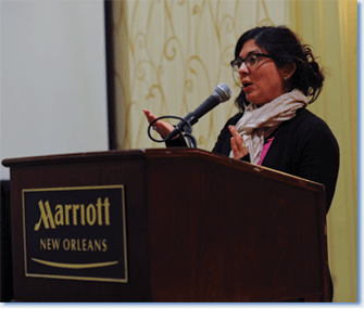 Laura Isabel Serna, 2012 co-chair of the Graduate and Early Career Committee, at the graduate student Open Forum, which took place at the 127th Annual Meeting in New Orleans on January 5, 2013. Photo by Marc Monaghan.
