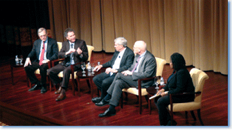 In a panel discussion at the National Archives, Eric Foner, Edward Ayers, James McPherson, James Oakes, and Annette Gordon-Reed discuss the legacy of the Emancipation Proclamation. Photo by Vanessa Varin.