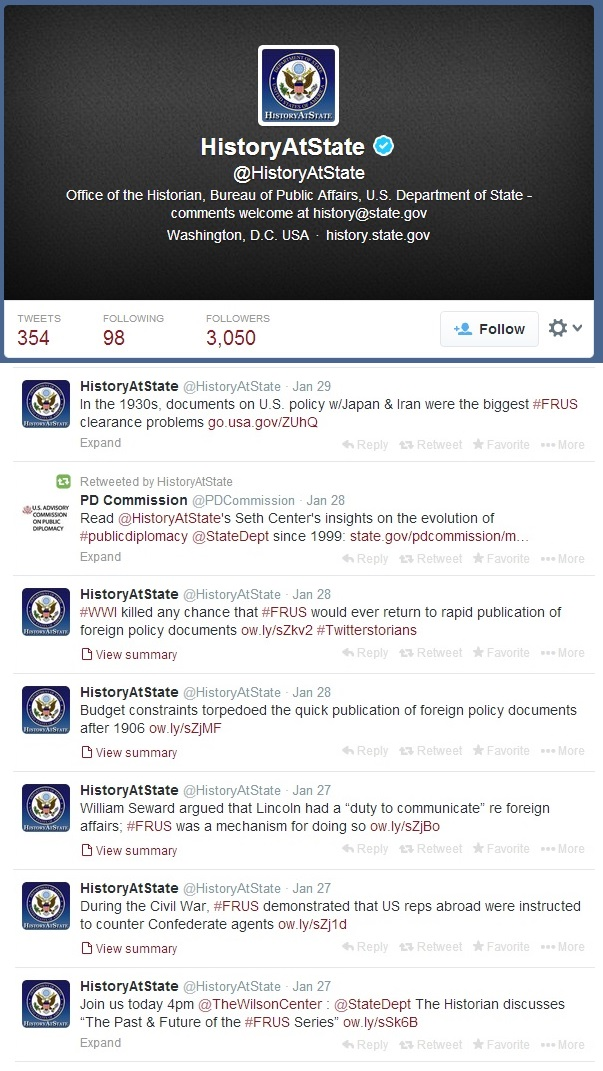 Tweets from the State Department's Office of the Historian on the event at the Wilson Center and the FRUS series.