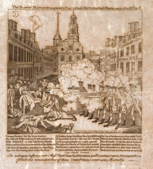 Figure 1: Engraving by Paul Revere, showing the massacre in King Street, Boston, on March 5, 1770. Digital image courtesy the Prints and Photographs Division, Library of Congress.