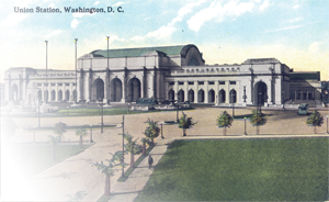 Vintage postcard of Union Station, Washington, DC, originally published by B.S. Reynolds Co.