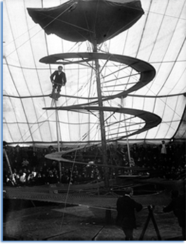 """Mr Minton & Mr Lloyds, Circus on spiral rail""  A. H. Poole Studio c. 1900. National Library of Ireland, NLI Ref.: P_WP_0912. Image courtesy Flickr Commons."