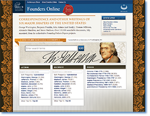 Home page of the National Archives's recently launched Founders Online.