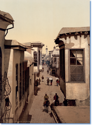 The street called straight, Damascus, Syria, between ca. 1890 and ca. 1900. From the Views of the Holy Land Photochrom print collection, Detroit Photographic Company. Library of Congress Prints and Photographs Division, LOT 13424, no. 030.