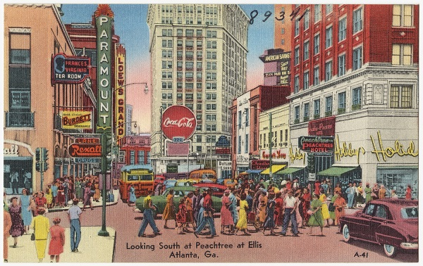 An old postcard with a drawing of downtown Atlanta.