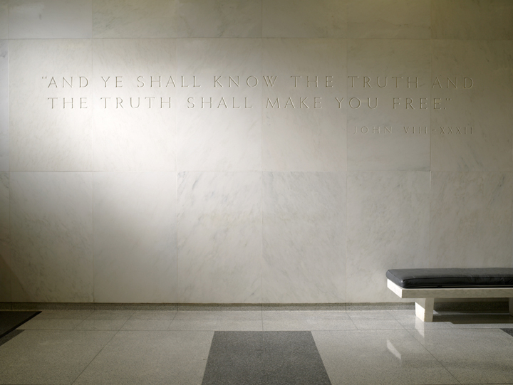"""The truth shall make you free."" Bible quotation in the CIA's main lobby."