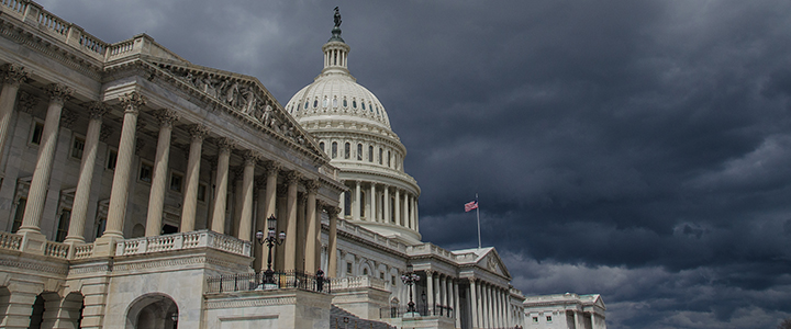 A Stormy Day at the Capitol: photo of a stormcloud above the US Capitol Building. Photo by Thomas Dwyer via Flickr