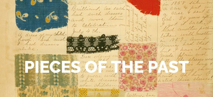 Perspectives on History magazine cover for the May 2021 issue, titled Pieces of the Past. The cover image depicts a section of a clothing scrapbook, with patches of cloths in different colors and patterns. The scrapbook image is courtesy of Naperville Heritage Society.