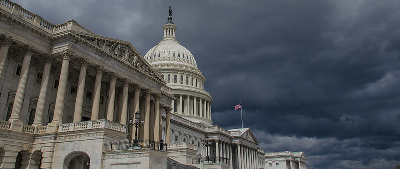 The US Capitol building during a storm. Photo by Thomas Dwyer via Flickr
