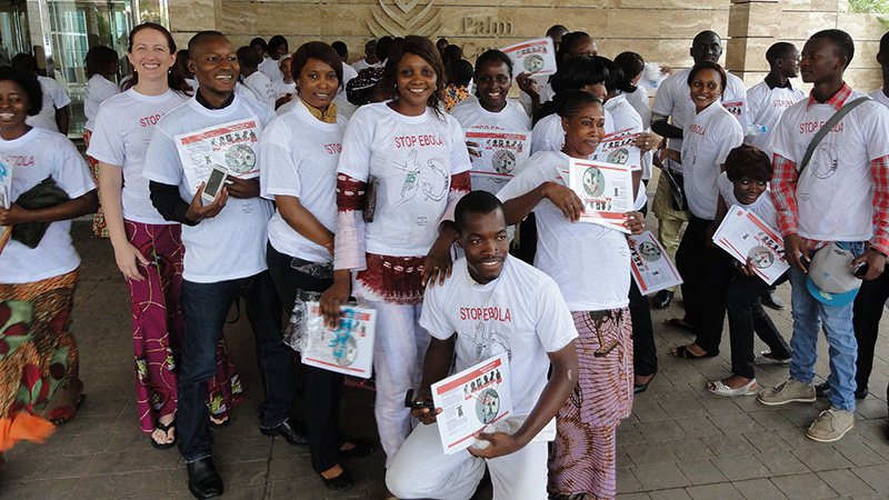 Hotel employees in Conakry, Guinea after a training on Ebola, 2011. CDC Global.