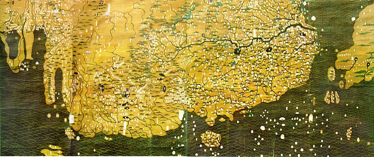 A Composite Map of the Ming Empire (Da Ming Hunyi Tu) as it would have appeared in AD 1389. Wikimedia Commons.